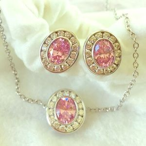 Pink & white CZ sterling silver necklace & earring